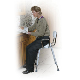 A perch stool can be used to rest on while brushing teeth, shaving, putting on make up or preparing meals at the kitchen counter.