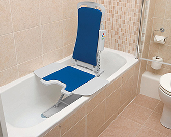 A bath lift can be used to safely lower and raise someone from the floor of a bathtub.
