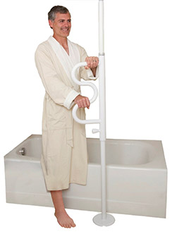 Transfer poles can be used to increase bathroom safety and reduce falls.