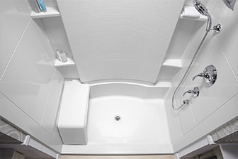 Prefabricated shower modules are inexpensive, but cannot be have grab bars drilled into them.